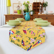 Table runner modern chinese garden flower leaves double sided pattern tablecloth table cloth covering cloth tea table cloth-A 35x150cm