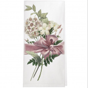 Montgomery Street Flower Bouquet with Pink Bow Cotton Flour Sack Dish Towel