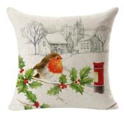 RTYou(TM) Decorative Christmas Linen Pillow Case Square Throw Flax