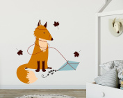 Wall Sticker Clumsy Fox in Autumn - Charming Wall Decor for the Nursery