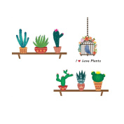 Winhappyhome Cactus Wall Art Stickers for Bedroom Living Room Coffee Shop Removable Decor Decals