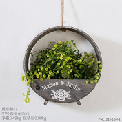 XMJR Wall decoration Creative home living room restaurant bedroom wall decorations on the wall of the plants in the wall-mount rack admit, Wong Yu rattan Medium Grey circular flower racks