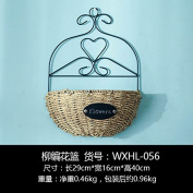 XMJR Wall decoration American balcony wall decoration flower baskets creative floral decorations wall mount wall decoration hanging cafe living room wall hangings, wicker, vase.