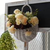 XMJR Wall decoration Emulation Flower wall mount wall decoration artificial flowers Balcony room rattan hanging basket continental flowerpots wicker boutonniere, flower baskets + autumn) Carnations champagne,.