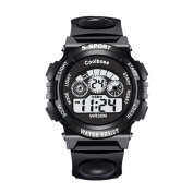 Children student watches digital electronic multi-functional camping outdoors military multicolor colourful light men and women sports waterproof , black small