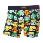 Pokemon Adult Male Pikachu & Friends All-over Pattern Boxer Short, Medium, Black
