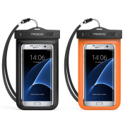 Universal Waterproof Case, MoKo [2-Pack] Cellphone Dry Bag Pouch with Armband Neck Strap for iPhone 7 Plus, 6S Plus, 7, 6S, 6, 5S, Samsung S8 Plus, S8, S7 Edge, S6 S5 S4, J7, Note 5 4, BLACK + ORANGE