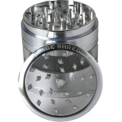 SAVAGE SHREDDER (SILVER) - Large Herb Grinder, 4 Four Piece with Pollen Catcher, Converts to On-the-go Pocket Grinder, Premium Grade Aluminium, Clear Acrylic Window, 8.9cm tall