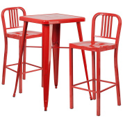60cm Square Red Metal Indoor-Outdoor Bar Table Set with 2 Vertical Slat Back Barstools