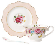 Jusalpha Vintage Rose Bone China Teacup Spoon and Saucer Set/ Coffee Cup with Saucer TCS08