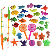 Gresdent 34pcs Puzzle Magnetic Fishing Toys Set Waterproof Bath Toy