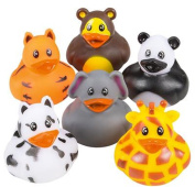 5.1cm Zoo Animal Rubber Duckies, Assorted styles. 24 pieces.