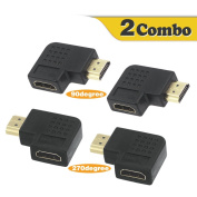 VCE 2 Combos HDMI 90 and 270 Degree Male to Female Vertical Flat Adapter
