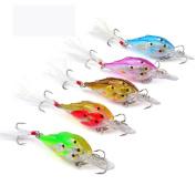Multicolor Fishes Bionic Bait,Hongxin Multi Jointed Fishing Lure Jerkbait Bass Hooks Crankbait Bait Ball, 5Pcs/Set
