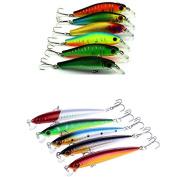 Feicuan Lure Minnow Fishing Hard Bait Plastic Tackle Fishhooks Stosh Gear Crank Angling 2models 11pcs