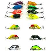 Feicuan Insect Frog Lure Hard Fishing Bait Fishhook Plastic Crank Stosh Tackle Angling 2models 14pcs