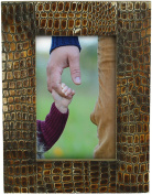 """4x6"""" Picture Photo Frame Wood - 2 IN 1 - Hanging + Standing Handmade Frame Wooden & Resin Display Stand for Horizontal & Vertical Pictures - Table-Top / Office / Home Decor Accessories"""