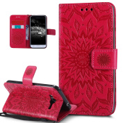 Galaxy J3 Case,Galaxy Express Prime Case,Galaxy Sky/Sol/Amp Prime,ikasus Embossing Mandala Flowers Sunflower PU Leather Flip Folio Kickstand Wallet Case with Card Slots Case for Galaxy J3/J3 V,Red