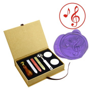 ZOVEE Classic Music Note Wax Seal Stamp Kit Antique Brass for Postage Letter Gift Cards