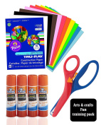 Arts & Crafts Fun Combo for Kids, Includes Heavyweight Construction Paper 23cm x 30cm 50 count Assorted With Pre-School Training Scissor, and Elmer's All Purpose Glue Sticks, Clear, Washable, 4 Pack