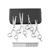Pet Grooming Scissors Kit - Cat Dog Grooming Scissors- 5 PCS( For Trimming Body, Face, Ear, Nose, Paw) , Sharp Shears with Safety Rounded Tips for Small, Medium & Large Pets
