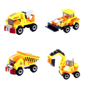 ACTLATI Pack of 4 Types Learning Building Block Plastic 3D Engineering Team Construction Vehicle DIY Puzzles