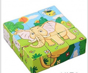 Miss.AJ Educational Preschool Wooden Cube Block Jigsaw Puzzles - Lion Zebra Elephant Rhinoceros Tiger Rabbit, Birthday Gift Toys .
