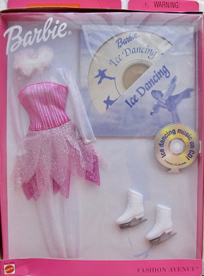 BARBIE Fashion Avenue ICE DANCING FASHIONS Clothes w COSTUME Outfit, Ice Dancing MUSIC CD, & ICE SKATES (2000)