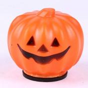 Plastic Halloween Pumpkin Orange LED Jack-O-Lantern Light for Festival Home Prop Decoration