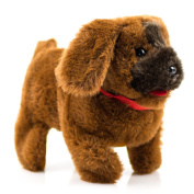 Toysery Puppy Plush Dog Brown Toy Walking Barking Wagging Tail Lucky Kids Pet Toy - Battery Operated