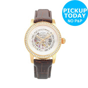 Rotary Ladies' Rose Gold Plated Skeleton Strap Watch - The Argos Shop On