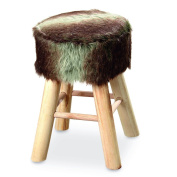 The Boho Chic Faux Fur Topped Stool, Rustic Wood and Cow Hide Polyester,16 ¾ Inches Tall, By Whole House Worlds