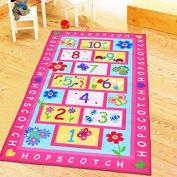HUAHOO Pink Rug Girls Pink Kids Rug,Children's Rugs Baby Nursery RugsKids Rugs Carpet Girls Bedroom Playroom Play Mat School Classroom Learning Carpet Educational Rug