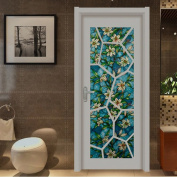 Bloss Vinyl Static Cling Window Shade Blue Orchid Privacy Stained Glass Decorative Window Film 45cm x 200cm