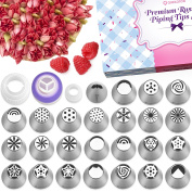 Russian Piping Tips - 50 Piece Cake & Cupcake Decorating Nozzle Set | 24 Piping Tips + Silicone Bag & 20 Disposable Bags + Leaf tip + 3 Couplers + Cleaning Brush + Instruction - Perfect Kitchen Gift