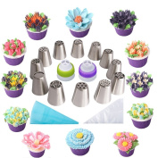 Russian Piping Tips- 35 PCS Large Cupcake Icing Nozzles Cake Decoration Kit (304 Stainless Steel ) Set - 12 Tips & 20 Disposable Pastry Bags & 1 Silicone Bags & 2 Couplers