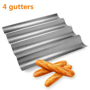 Ohomr No-stick French Bread Pan for Baking Baguettes Metallic Perforated Wave Loaf Bake Mould 4 Gutters