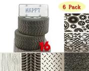 (Set of 6)Fondant Impression Mat Mould,Steam punk theme,Tyre texture, floor texture, gear texture, wood grain texture Fondant Imprint Mats,Cake Decorating Supplies