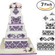 HULISEN 7Pcs Cake Decorating Stencil Mould Wedding Cake Stencil