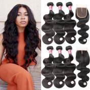 Beauty Princess Brazilian Body Wave with Closure 8a Unprocessed Brazilian Virgin Hair 3 Bundles with Middle Part Closure Natural Black Human Hair Bundles With Closure