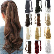 FRISTLIKE 46cm Wrap Around Synthetic Ponytail Clip in Hair Extensions One Piece Magic Paste Pony Tail Long Wavy Soft Silky for Wave Hair Piece