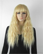 60cm New Fashion Fluffy Healthy Long Curly Full Wig Highlights Synthetic Corn Hot Curly Hair Party Wig