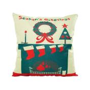 ✿Moseâ . !Merry Christmas Green Forest Series Pillowcases,Linen Sofa Cushion Cover Home Decor Pillow
