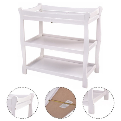 New MTN-G White Sleigh Style Baby Changing Table Infant Newborn Nursery Nappy Station