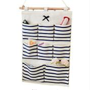 Wall Hanging Storage Bag, Multi-layer Holder Storage Bag Home Decoration Makeup Rack Linen Jewellery Organiser Case with 8 pockets Closet Organiser Bag Blue/ Red Stripes