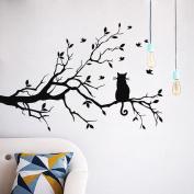 Keepfit Wall Sticker Black Cats Art Decals Kids Animal Room Decor Kitten On Long Tree Branch