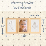 Baby Footprint Photo Frame - Best Baby Shower Gift Keepsake kit for Parents, Lovely Baby Decor for Nursery Room, Premium Clay & Wooden Frame ,Baby Handprint Picture Frame for Room Wall or Table Decor