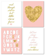 "20cm x 10"" Gold Heart Nursery Prints for Baby Girl & Children Room Decor & Decorations Perfect for Baby Shower Gift Ideas …"