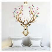 3D Plum Flower Deer Wall Stickers for Kids Rooms, Living Room or Bedroom Home DIY Decoration PVC Removable Decals by Keepfit