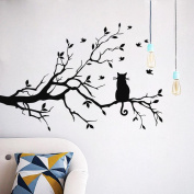 Cat Tree Wall Stickers Freeheart Cat On Long Tree Branch Wall Sticker Animals Cats Art Decal Kids Room Decor
